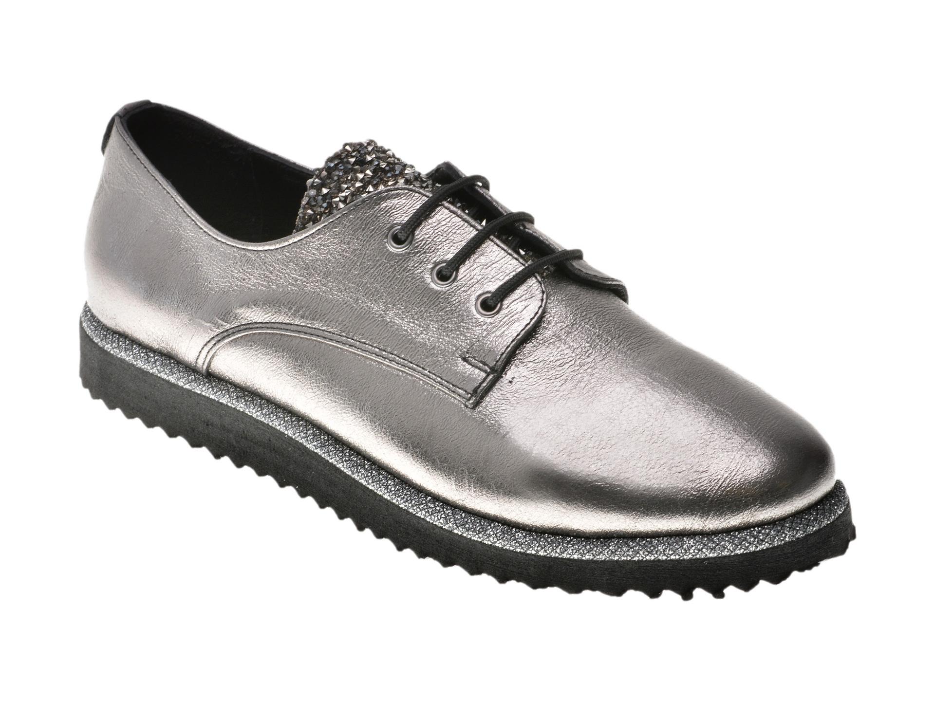 Pantofi Flavia Passini Argintii, 134202, Din Piele Naturala