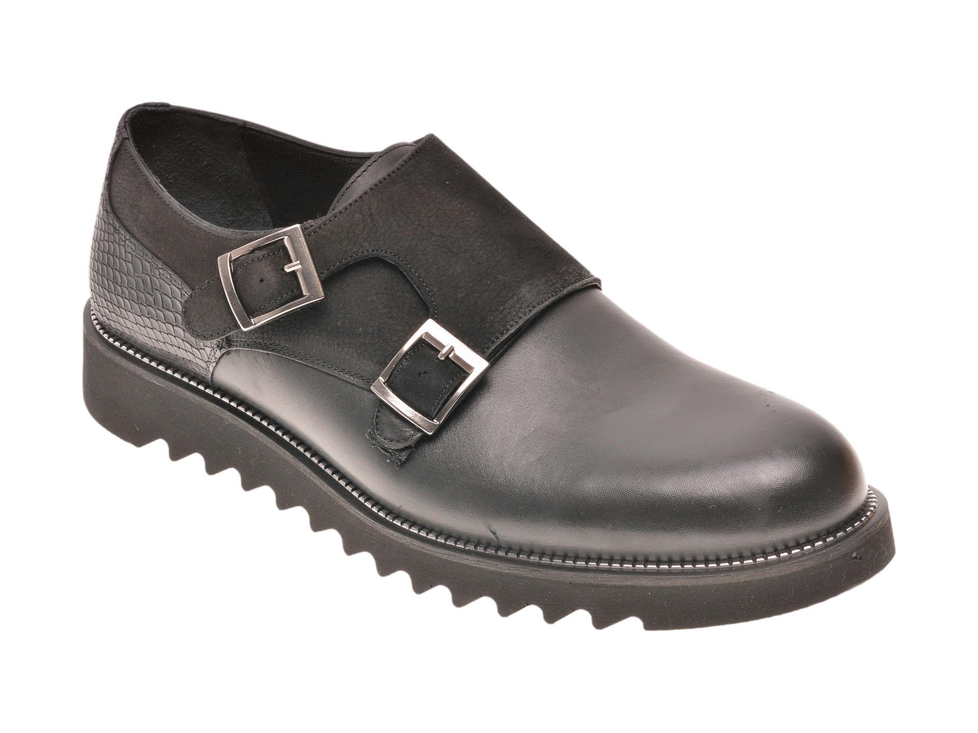 Pantofi Otter Negri, 5981, Din Piele Naturala